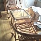 籐センターテーブル チェアセット ガラス天板