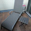 デッキチェア/アウトドアチェア+サイドテーブルセット(折り畳み可能)