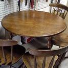 ウ゛ィンテージ無垢材丸テーブル(椅子4脚付き)
