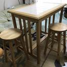 キッチンワークテーブル&椅子2脚セット  差し上げます