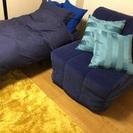 IKEAソファベッドすのこマットレス付き美品ブルー
