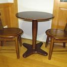 ミニサイズ 1本足 丸テーブル + 椅子2脚