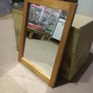 壁掛け鏡 小型ミラー 木製フレーム 半身ミラー パブミラー