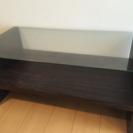 【北欧風】 ウッドガラス ローテーブル ダークブラウン