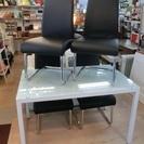 ガラス天板のダイニングテーブル+チェア4脚 中古品