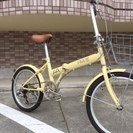 20インチ 折りたたみ自転車 クリームベージュ 外装6段切り替え ...
