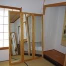 中古 木製壁直付けミラー【 幅45cm 高さ170cm厚さ2.5c...