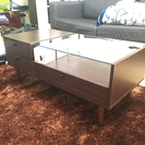 北欧家具 ウォルナット調 鏡台付 ローテーブル