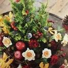 12月はフリーレッスン!【生花】テーブルリースの賑やかクリスマスアレンジ