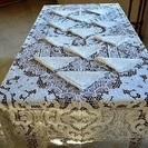 イタリア製 刺繍入りリネンのテーブルクロス