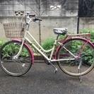 26インチ 自転車 ママチャリ シティサイクル ピンク 外装6段ギ...