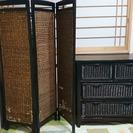 取引中 アンティーク風 ラタンカゴの収納家具 間仕切り付