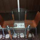 【モダンなお宅に】ガラステーブル&イス2脚セット(美品)