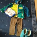 男の子用110ジャンパー、カーキのパンツ、18センチブーツ、鞄4点...
