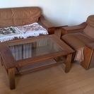 2人掛け+1人掛け本革ソファー+テーブルのセット