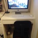 ホワイトオフィスデスク+椅子つき+スタンドライト