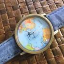 【新品・輸入品】思わず、旅行に行きたくなる世界地図!腕時計、ベルト...