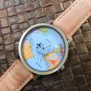 【新品・輸入品】思わず、旅行に行きたくなる世界地図!腕時計、ブラウ...