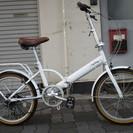 ♪ジモティー特価♪人気の白い折りたたみ中古自転車 20インチ シマ...