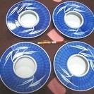 ★美品4つまとめて!!直径21.7cm・青の和風柄が上品・陶器製の灰皿★