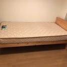 【USED美品】 パイン材シングルベッドフレーム&フランスベッドマ...