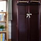 ◆木製収納棚◆こげ茶  タンス カラーボックス付き 衣装棚 書類雑...
