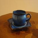 コーヒーカップ 5客セット 花の形 紺色 小さ目 かわいい