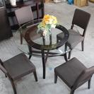 4人掛けガラスダイニングテーブル&椅子セット