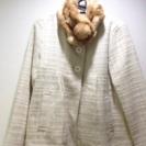 ドレス用コート(ホワイト)&フェイクファーマフラー(キャメル)