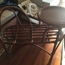 椅子付き電話台   籐製品