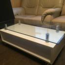 ガラステーブル 『 センターテーブル 』 白色  キャスター付き