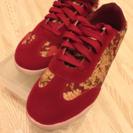 赤の和柄の靴!