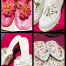 キラキラ、リボン、花柄、レース靴