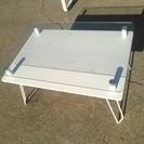 ディスプレイテーブル70ホワイト スチール製強化ガラス5mm