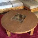 アジアン風こたつテーブル・丸型こたつカバー付き