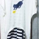 Tシャツとワンピースのセット 【猫柄】