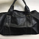 合成皮? 黒ボストンバッグ★旅行用 鞄 ブラック 美品 メンズ