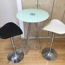 カウンターテーブル(円形) カウンターチェア×2(黒,白) セット