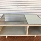 ガラステーブル ホワイト 100×60×40