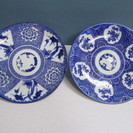 【古伊万里】大皿2枚セット◆染付◆印判◆松竹梅◆花図