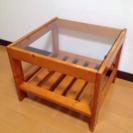 レトロ  正方形  ガラス天板  ローテーブル  サイドテーブル