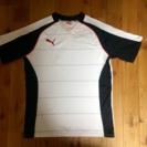 PUMA サッカーラグランシャツ WHT x BLK