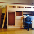 ニトリ二段ベッド 6点付き(本棚、テーブル、収納棚X2、クロゼット...