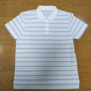 L 半袖ポロシャツ 白地にグリーンのストライプ 未使用 定価230...