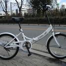 ♪ジモティー特価♪美品 人気の白い20型折りたたみ中古自転車 車に...