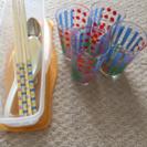 グラス、お皿、菜箸、レンジでパスタ