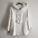 白のラビットファー付コート