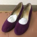 スウェード調 紫のパンプス Lサイズ