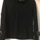 花モチーフ付きセーター黒
