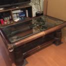ブラックバンブー ガラステーブル